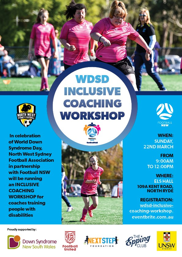 World Down Syndrome Day (WDSD) Inclusive Coaching Workshop Flyer - Football NSW